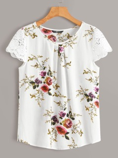 Floral Print Guipure Lace Sleeve Pleated Front Top