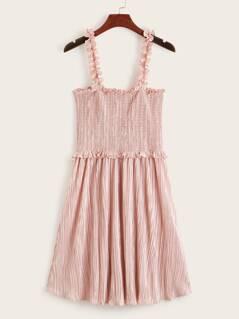 Frill Trim Smocked Pleated Slip Dress