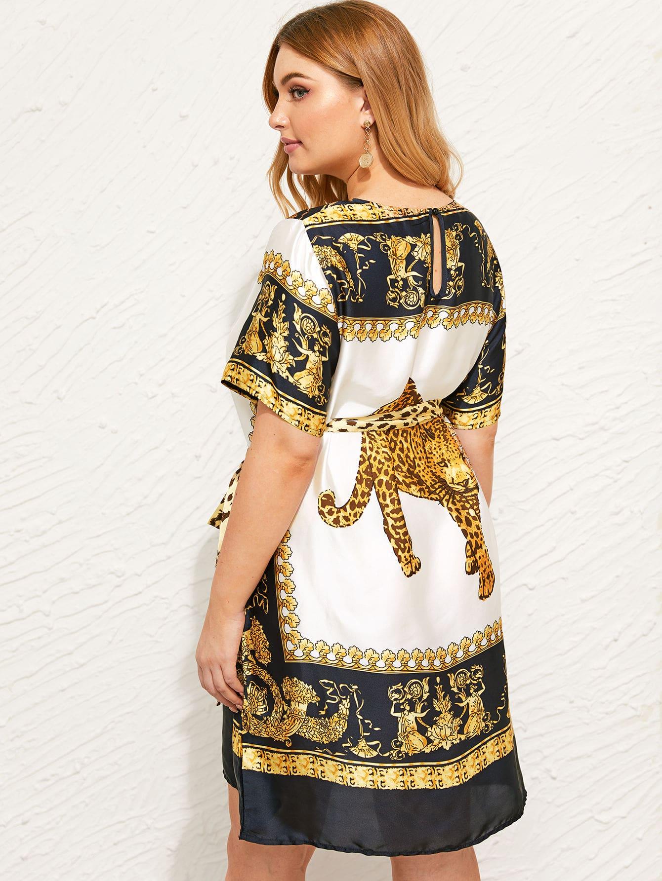 Фото - Атласное платье размера плюс с графическим принтом и поясом от SheIn цвет многихцветные