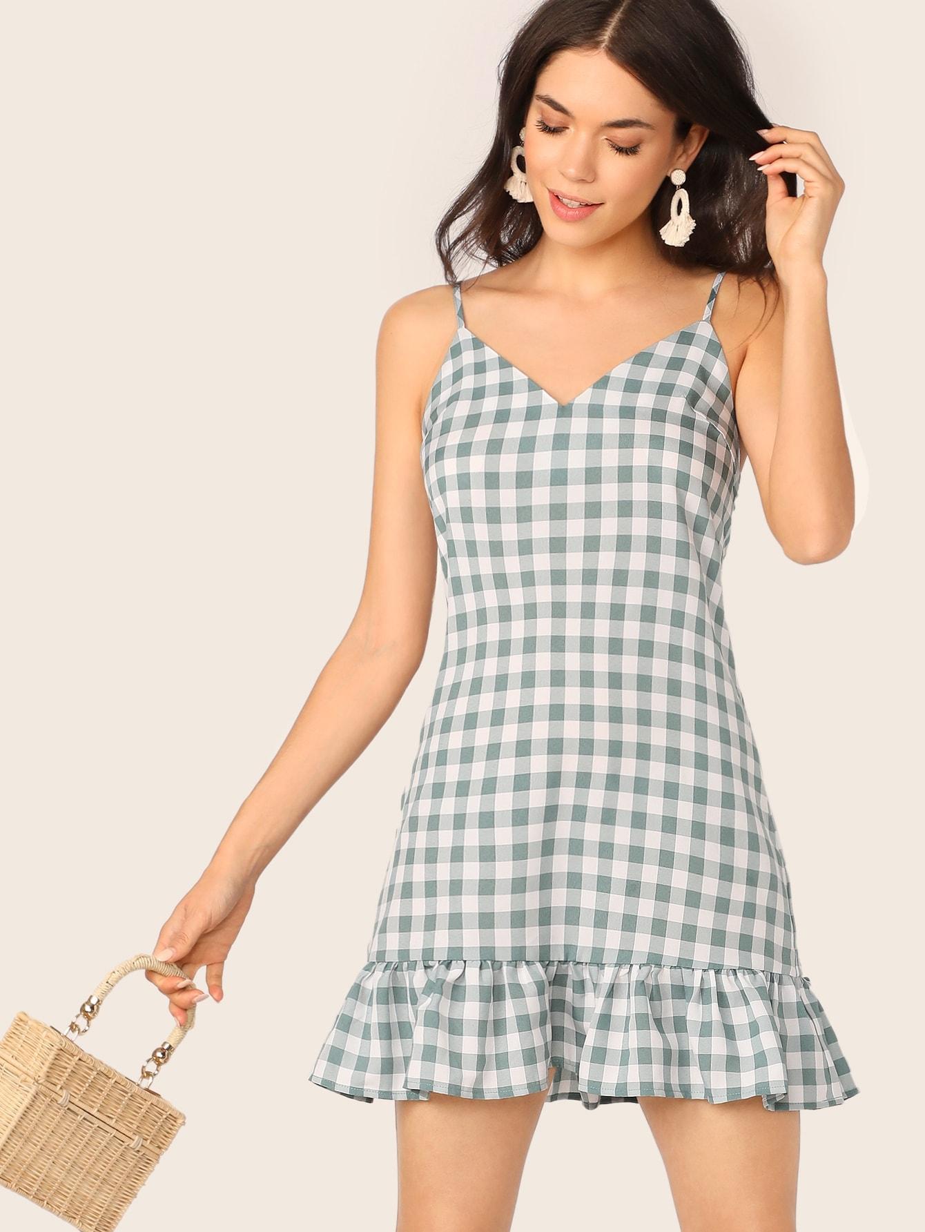 Фото - Платье с оборкой от SheIn цвет зелёные