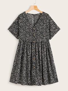 Button Front Dalmatian Print Tea Dress