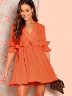 Pleated Ruffle Trim Plunging Neck Wrap Dress