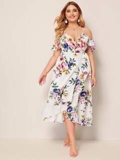 Plus Floral Print Ruffle Hem Wrap Belted Dress