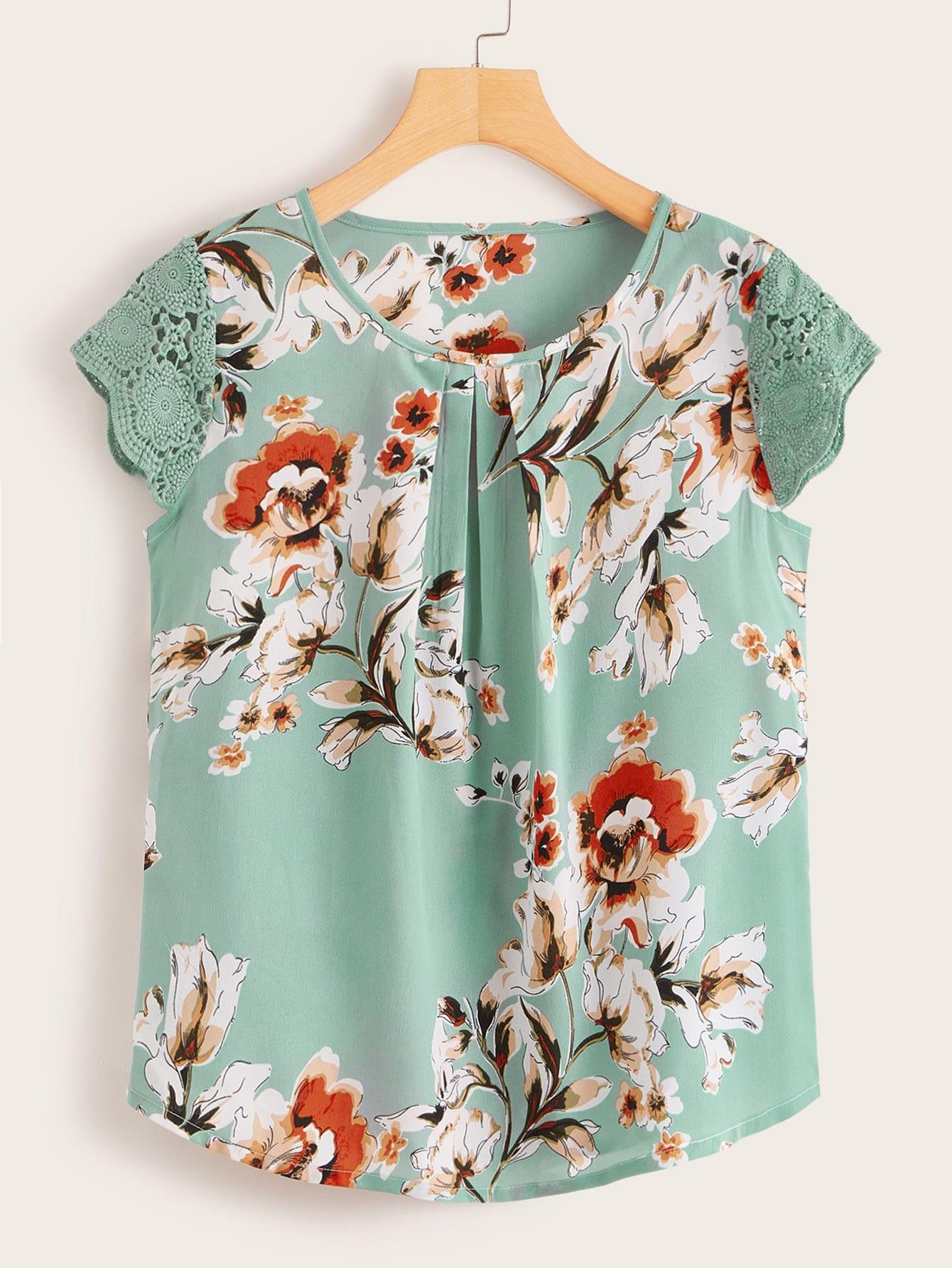 Фото - Блузу с кружевом и цветочным принтом от SheIn цвет многоцветный