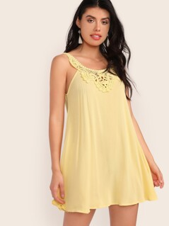 Keyhole Back Lace Insert Swing Dress