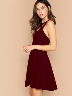 Cage Neck Open Back Fit & Flare Dress