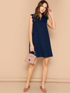 Notch Neck Scallop Trim Tunic Dress