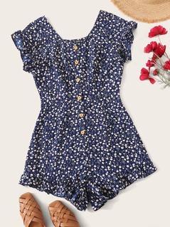 Ditsy Floral Print Button Front Ruffle Hem Romper