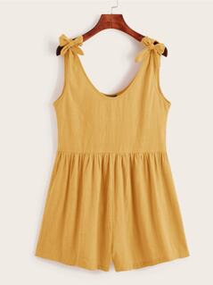 Knot Strap Solid Romper