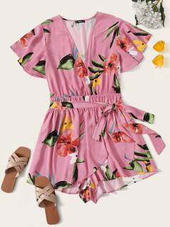 Plus Surplice Neck Wrap Belted Floral Romper