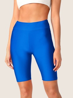 Neon Blue Wide Waistband Cycling Shorts