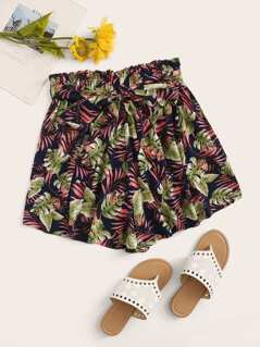 Tropical Print Paperbag Waist Belted Shorts