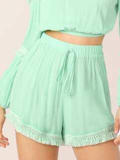Neon Green Knot Front Tassel Hem Crepe Shorts