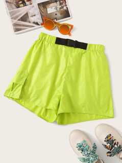 Neon Lime Flap Pocket Push Buckle Shorts