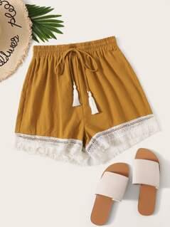 Tassel Drawstring Waist Fringe Lace Hem Shorts