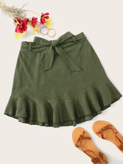 Ruffle Hem Belted Skirt