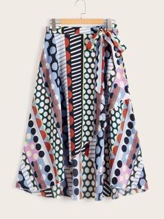 Geo Print Tie Waist Wrap Skirt
