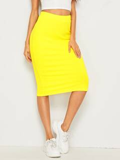 Neon Yellow Rib-knit Pencil Skirt