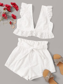 Plunging Neck Tie Back Schiffy Top and Shorts Set