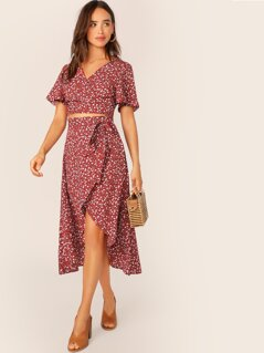 Ditsy Floral Flutter Sleeve Crop Top & Wrap Knot Skirt Set
