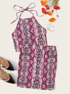 Snakeskin Print Halter Top & Bodycon Skirt Set