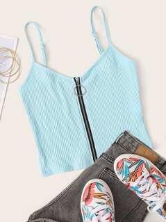 O-ring Zipper Fly Rib-knit Crop Cami Top