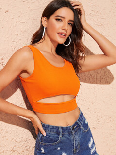 Neon Orange Cut-out Front Tank Crop Top