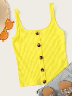 Neon Yellow Button Front Rib-knit Tank Top