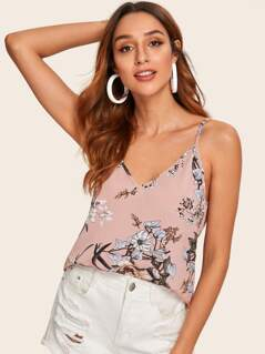 Double V Neck Botanical Print Cami Top