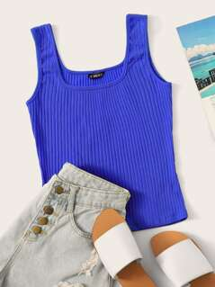 Neon Blue Rib-knit Tank Top