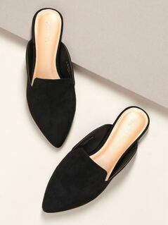 Pointed Toe Open Heel Flat Slide Mules