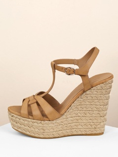 Overlap Band Ankle Strap Jute Trim Platform Wedges