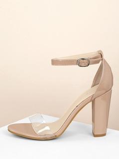 Patent Chunky Heel Clear Band Open Toe Sandals