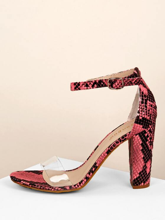 86460c6afbe Neon Snakeskin Clear Band Block Heel Sandals