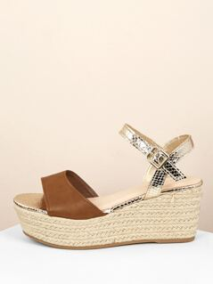 Two Toned Buckled Ankle Strap Jute Wedge Sandals