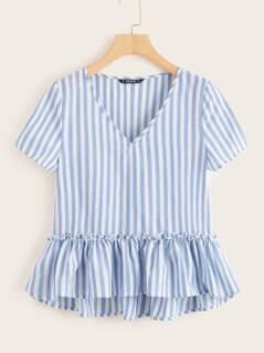Frill Trim Striped Smock Blouse