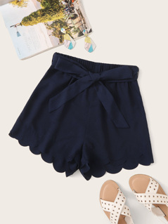 Tie Front Scalloped Edge Shorts