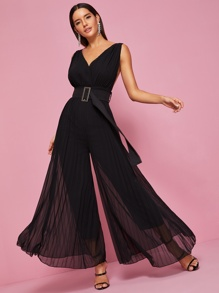 Backless Pleated Wide Leg Belted Jumpsuit