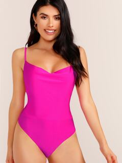 Neon Cowl Neck Sleeveless Thong Bodysuit