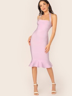 Halter Neck Ruffle Flared Hem Bandage Dress