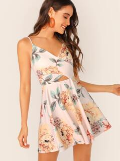 Floral Cross Waist Cut Out Cami Dress