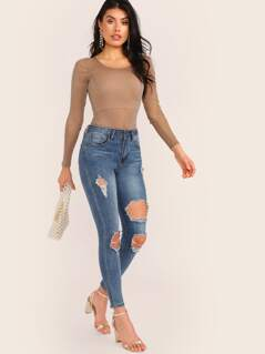 Crew Neck Long Sleeve Glitter Mesh Bodysuit