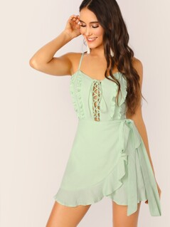 Lace Up Ruffle Trim Sleeveless Mini Dress