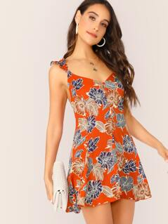 Hawaiian Floral Ruffle Cami Mini Dress
