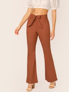 Waist Tie Back Pocket Bell Bottom Pants