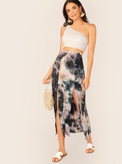 Double Slit Tie Dye Jersey Knit Skirt