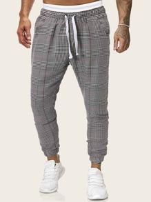 Men Houndstooth Drawstring Pants