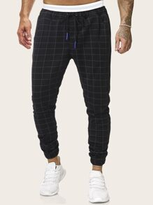 Men Plaid Drawstring Waist Pants