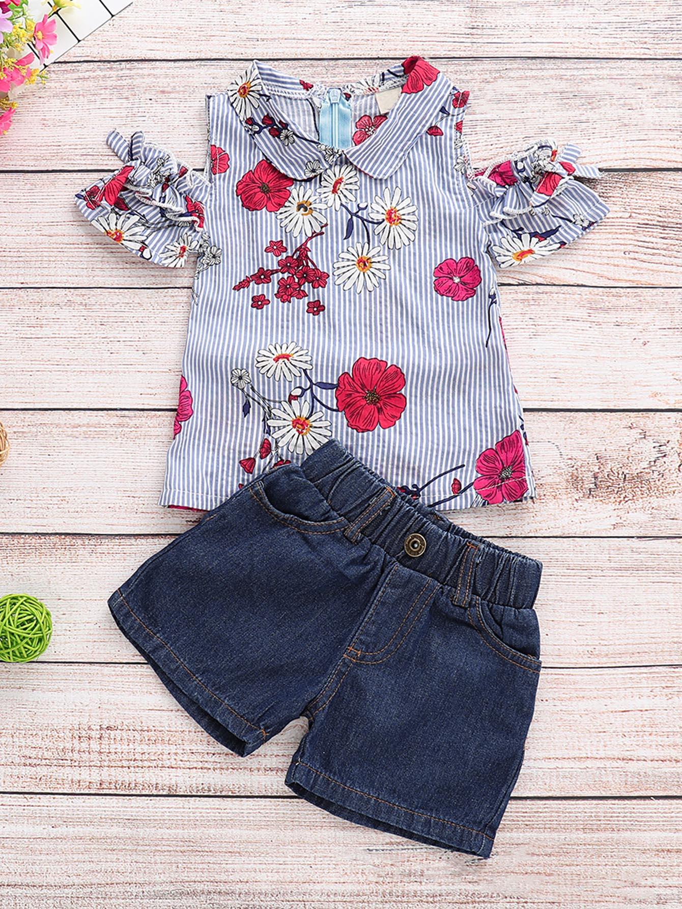 Фото - Цветочная блуза с открытыми плечами и джинсовые шорты для маленьких девочек от SheIn цвет многоцветный