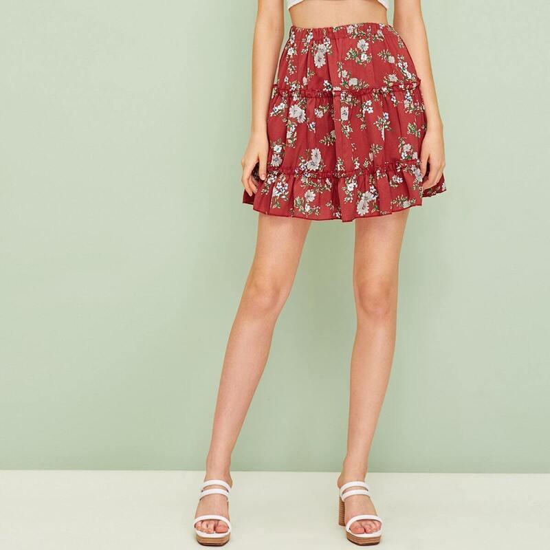Elastic Waist Ditsy Floral Ruffle Hem Skirt, Red
